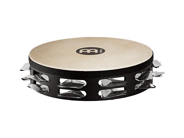 Meinl STAH2S-BK Super-Dry Studio Goat Skin Wood Tambourine with 2 Rows of Stainless Steel Jingles -