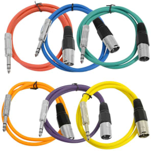 "Seismic Audio SATRXL-M3BGORYP XLR Male to 1/4"" TRS Male Patch Cables - 3' (6-Pack)"