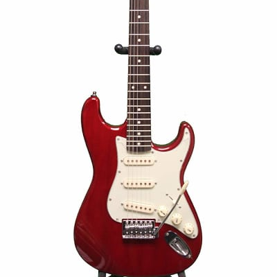 Oscar Schmidt  3/4 Size Electric Guitar, Tremelo, Transparent Red OS-30-TR for sale