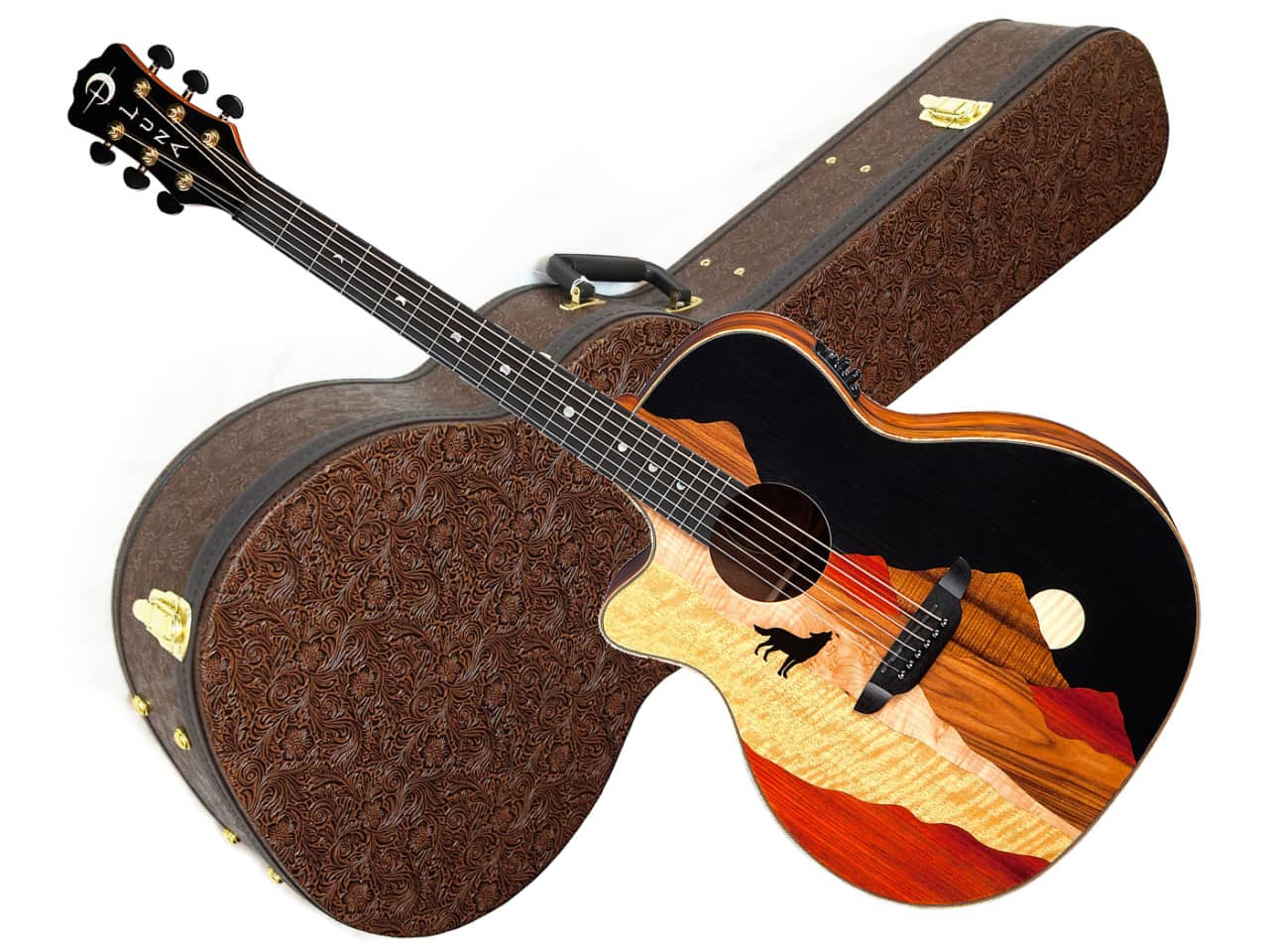 luna vista wolf acoustic electric lefty guitar w hard shell reverb. Black Bedroom Furniture Sets. Home Design Ideas