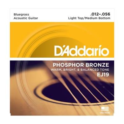 D'Addario Phosphor Bronze Acoustic Guitar Strings - EJ19 Light Top/Medium Bottom 12-56
