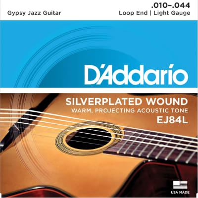 D'Addario EJ84L Light Loop End Gypsy Jazz Acoustic Guitar Strings, 10-44