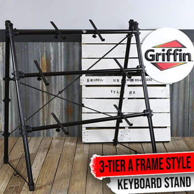 Triple Keyboard Stand – 3 Tier A-Frame Holder Studio Mount Mixer Turntable DJ PA