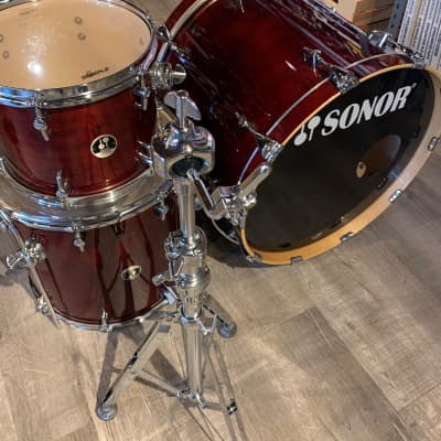 Used Sonor Session 3pc Drum Set Cranberry Red w/ Single Tom Stand