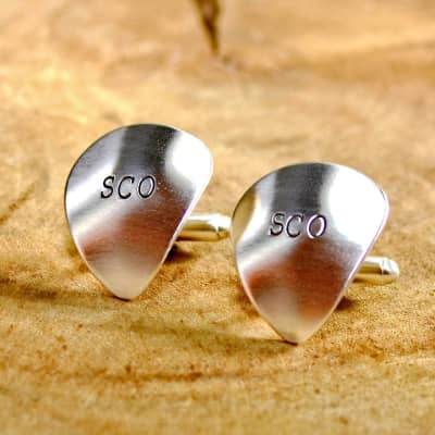Sterling silver personalized guitar pick cuff links with initials monograms or to customize - Silver