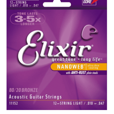 Elixir Acoustic 80/20 Bronze with NANOWEB Coating - 12-String Light
