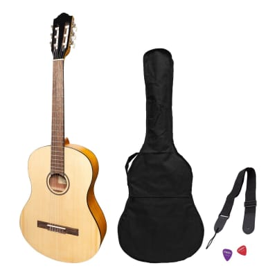 Martinez 'Slim Jim' Full Size Student Classical Guitar Pack with Built In Tuner (Spruce/Koa) for sale