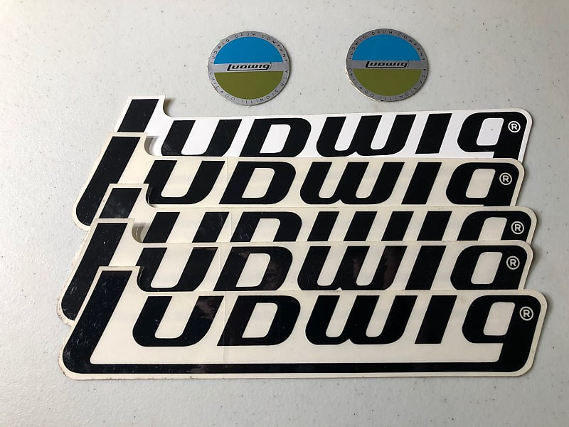 Ludwig Logo Stickers for Drum, Hardware – Two Circular, Five Logo