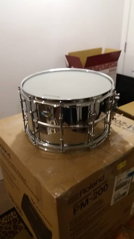 LW0814SL Ludwig Snare Drum Supralite 8x14 Chrome Over Steel Beaded Shell