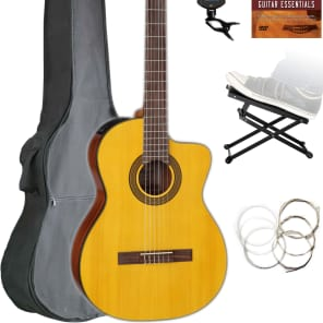 Musical Instruments & Gear Natural Gloss Handsome Appearance Takamine Gc3cenat Classical Cutaway Acoustic-electric Guitar Guitars & Basses