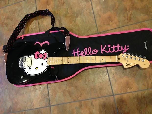 fender squier hello kitty electric guitar strat black reverb. Black Bedroom Furniture Sets. Home Design Ideas