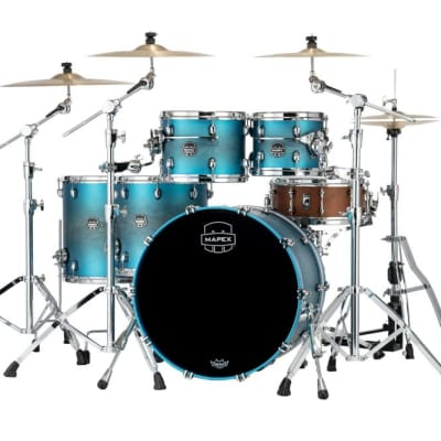 Mapex Saturn Evolution Workhorse 5 Pc Maple Drum Set Without Snare - 22/10/12/14/16 - Exotic Azure Burst