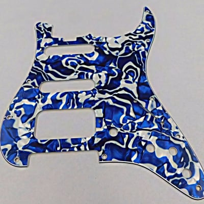 D'Andrea Pro Stratocaster Pickgaurd H/S/S 11 HOLE 4 Ply  Made in the USA 2019 Blue Swirl Pearl for sale
