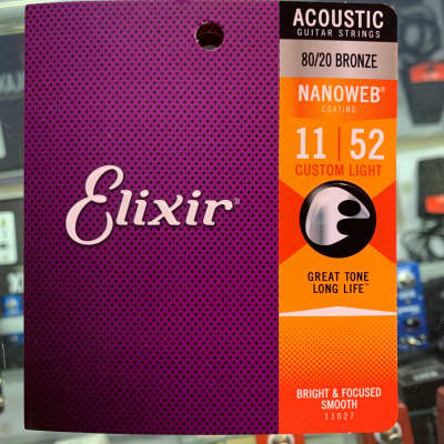 Elixir 80/20 bronze nano web acoustic guitar strings custom light 11–52