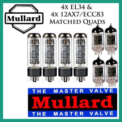 New 4x Mullard EL34 & 4x Mullard 12AX7 ECC83 Matched Quads Quartets Free Ship