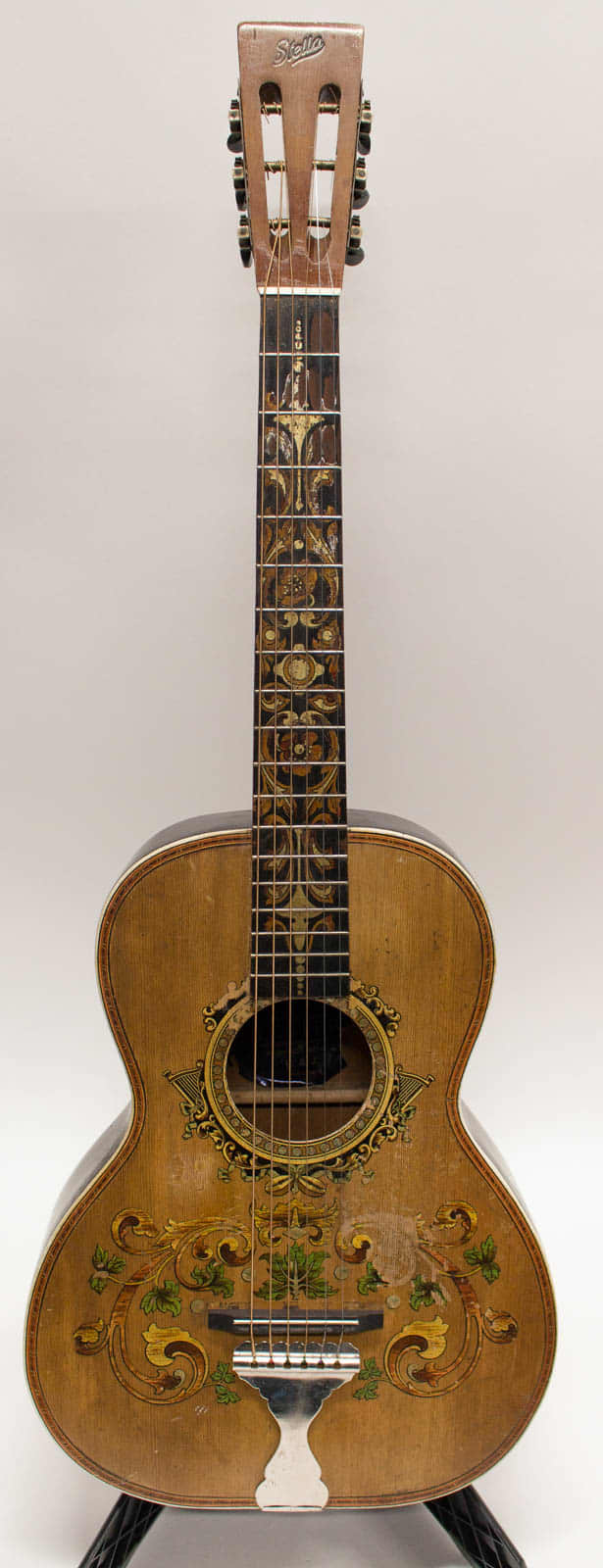 1912 vintage stella decalcomania concert acoustic guitar with reverb. Black Bedroom Furniture Sets. Home Design Ideas