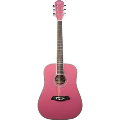 Oscar Schmidt OG1 Student 3/4 Size Dreadnought Acoustic Guitar, Pink for sale