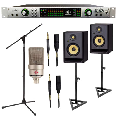 Universal Audio Apollo FireWire, Neumann TLM 103, (2) KRK RP5G4 Monitor, Monitor Stands, (2) Mogami XLR-1/4 Cables, Mic Stand Bundle