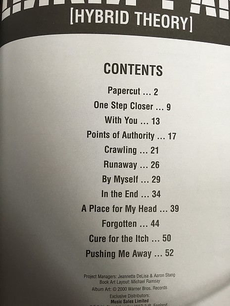 Linkin Park Hybrid Theory Tab Booklet
