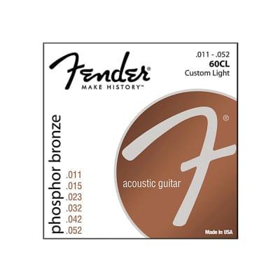 Fender 60CL Phosphor Bronze Acoustic Guitar Strings - Custom Light - 3 Pack for sale