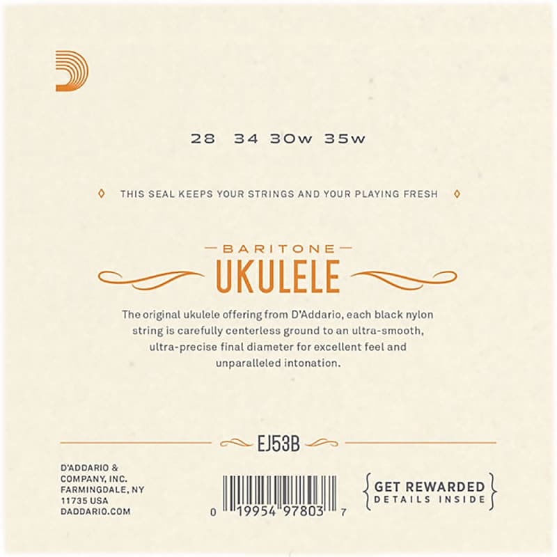 Baritone D/'Addario EJ53B Pro-Arté Rectified Ukulele Strings