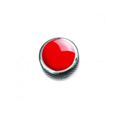 Q-Parts Custom Dome Guitar Knob - Chrome / Red for sale