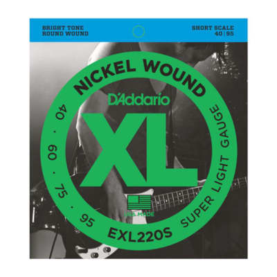 D'Addario EXL220S Nickel Wound Bass Guitar Strings, Super Light, 40-95, Short Scale