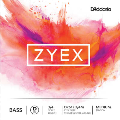 D'Addario D'Addario Zyex 3/4 Upright Double Bass D String - Medium Gauge - Stainless Steel Wound Composite Synthetic Core