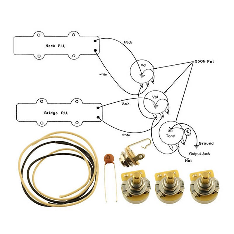 WIRING KIT-FENDER® JAZZ BASS Complete with Schematic Diagram | ReverbReverb