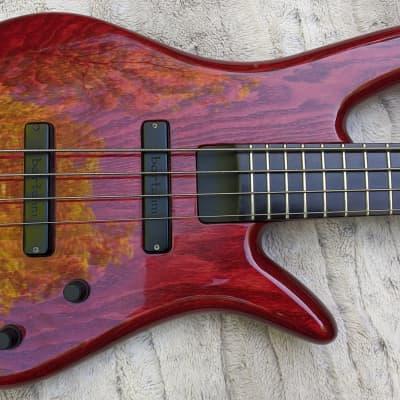 2007 Zon Sonus 4 String Bass, Ash, Trans Red, Custom Bartolinis, 24 Fret Neck, Bag for sale
