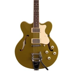 Hofner HCT-VTH Verythin CT Electric Guitar (with Case), Olive Green for sale