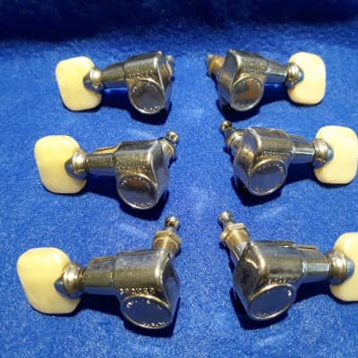 """Grover Vintage """"milk bottle"""" PAF guitar tuners 1960s Chrome with Pearloid buttons"""
