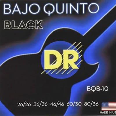 Dr Strings Bqb-10 Bajo Quinto 10 String Set, Black 26/26, 36/36, 46/46, 60/30, 80/36