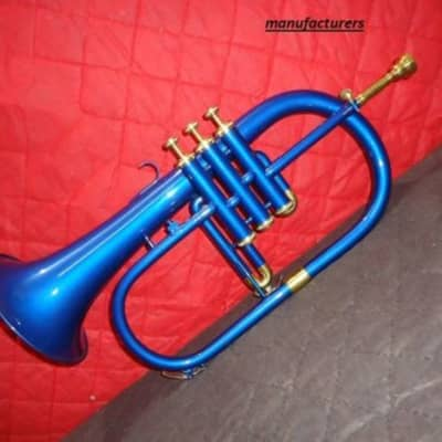 sai musicals Queen Brass Stylish And Stunning 3 Valve Blue Coloured Lacquered Flugel Horn 2020 blue