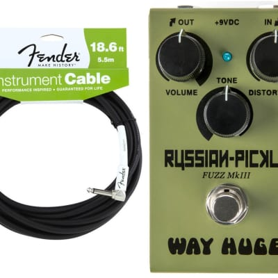 Way Huge WM42 Smalls Mini Russian Pickle Fuzz MKIII Guitar Effects Pedal Dunlop ( FENDER 18FT CABLE)