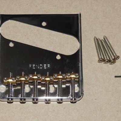 Fender Vintage-Style 6-Saddle Telecaster Bridge Assembly Upgraded With Kluson Brass Barrel Saddles