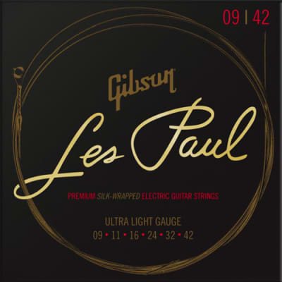 Gibson Les Paul Premium Electric Guitar Strings, Ultra-Light 9-42