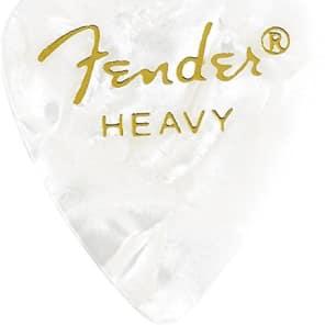 Fender 351 Premium Celluloid Guitar Picks - HEAVY, WHITE MOTO, 12-Pack (1 Dozen) for sale