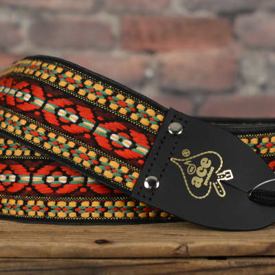 D'Andrea Ace Vintage Reissue Multicolor Bohemian Red Jacquard Weave Guitar Strap w/ Free Shipping for sale