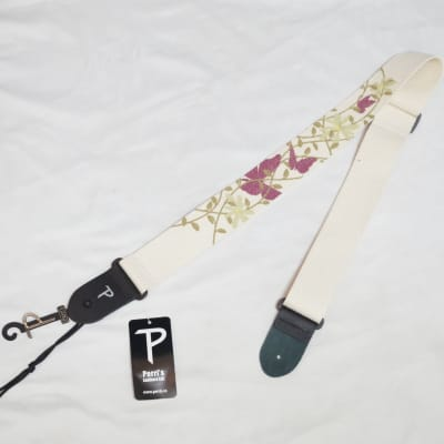 """PERRI's Butterflies and Vines cotton Guitar Strap NEW - Leather ends - 2"""" wide"""