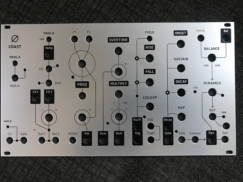 Alternate brushed aluminum panel for Make Noise Ø-Coast by Grayscale