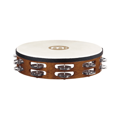 """Meinl TAH2-AB 10"""" Traditional Wood Tambourine with Double Row Steel Jingles"""