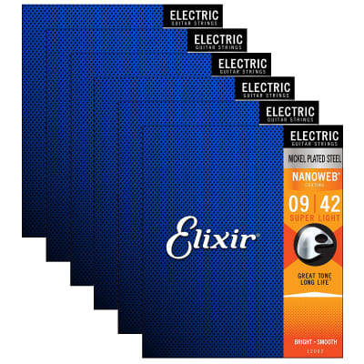 Elixir Electric Nanoweb Super Light 12002 9-42 Electric Guitar Strings 6-Pack w/Bonus Elixir Polishi