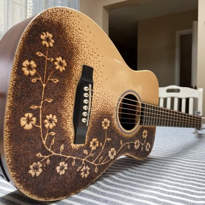 Martin LX1E Little Martin Parlor with Wood Burned Pyrography Artwork