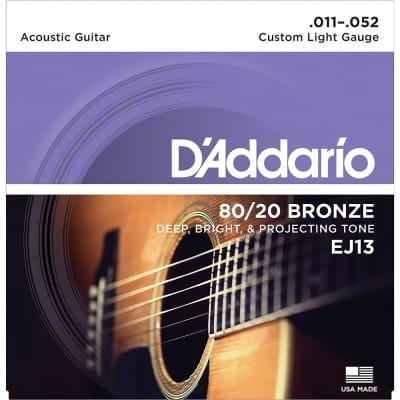 D'Addario EJ13 80/20 Bronze Custom Light Acoustic Guitar Strings (11-52)