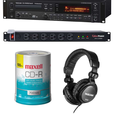 Tascam CD-RW900MKII Recorder - Maxell CD Pak Premium 100 Units - CyberPower CPS1215RMS Surge Protector - Tascam TH02