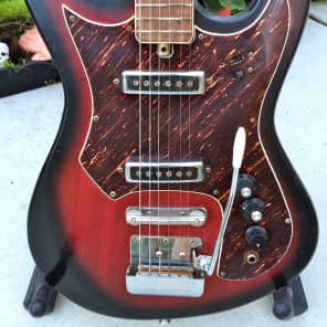 Rarely Seen Vintage Japanese Made Teisco/Daimaru Strat Style 2 Pickup 60's Redburst for sale