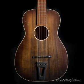 Vintage 1940-50s Encore Symphony Acoustic Guitar - Art Deco Parlor with Vintage Kluson Tuners for sale