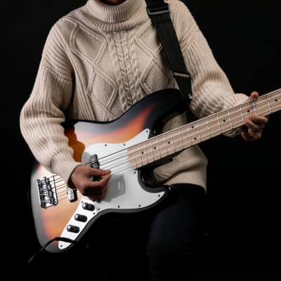 Glarry GJazz Ⅱ Upgrade Electric Bass Guitar with Wilkinson Pickup, Warwick Bass Strings, Bone Nut 2020s Sunset Color for sale