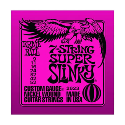 ERNIE BALL Super Slinky Nickel Wound 7-String Electric Guitar Strings (2623) Single Pack